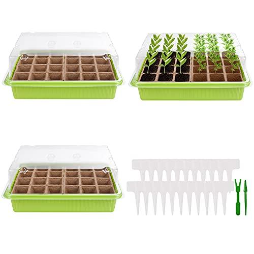 Herefun Bandeja de Plántulas, 3 Piezas Plántulas Bandejas de Semillas, Invernadero Semillero Germinador Kit, Bandejas Semilleros de Germinacion para el Cultivo de Plantas en Interiores