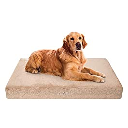 JOYELF Memory Foam Orthopedic Dog Bed with Liner Waterproof Protector Washable Cover and Soft Blanket as Gift