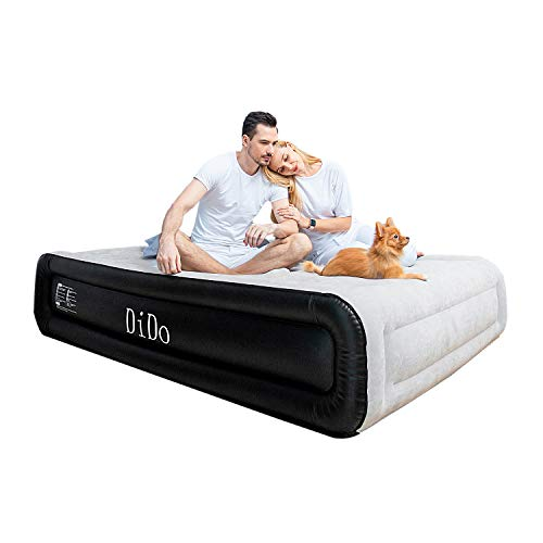 """DIDO Air Mattress with Built-in Pump, Queen Size Air Bed with Flocked Top and Sides, Elevated 18"""" Inflatable Bed Blow-up Bed for Guests"""