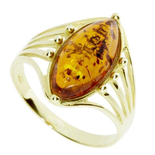 InCollections Damen-Ring 333/000 Gold mit Bernstein Größe 62 (19.7) OS07504