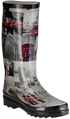 ConWay Gummistiefel schwarz Regenstiefel Damen Stiefel Schuhe London, Größe:39 EU, Farbe:schwarz