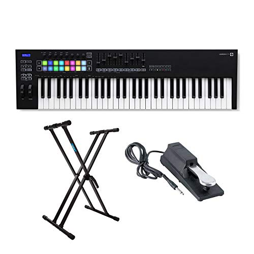 Novation Launchkey MK3 61-Key USB MIDI Keyboard Controller with Knox Gear Adjustable Double X Keyboard Stand and Sustain Pedal Bundle (3 Items)
