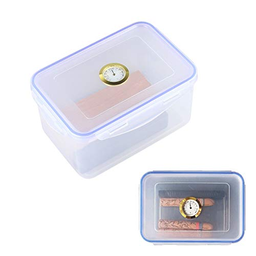 ABS Humidor Cigar Jar Analog Hygrometer Gauge Portable Cigar Case Food Safe Canister Sealed Lock Cap Hold About 18~24 Cigars