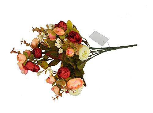 GMMH Kamelie Bund 35 cm Seidenblumen Kunstblumen 21 Blüten Blumenstrauß Rosen Pfingstrosen (apricot-Bordo)