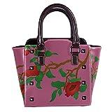 IUBBKI Bolso de mano con remaches de cuero con flores rojas y blancas, bolso de mano para mujer, bandolera para mujer y niña