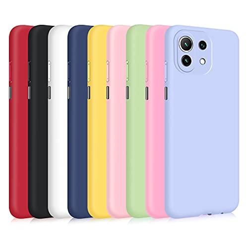 9X Hülle für Xiaomi Mi 11 Lite 4G und 5G /Mi 11 Lite 5G NE, Ultra Thin TPU Hülle Stoßfest Anti-Scratch Hülle - [ Schwarz + Rot + Weiß + Dunkelblau + Mintgrün + Pink + Dunkelpink + Helles Lila + Gelb ]