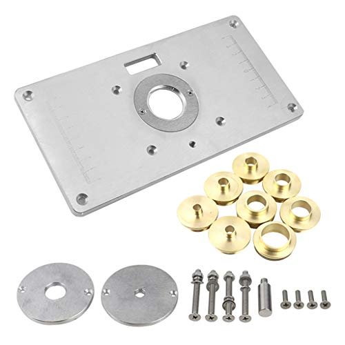 KunmniZ Aluminum Router Table Insert Plate with Rings Woodworking Benches Trimmer DIY Tools Accessories