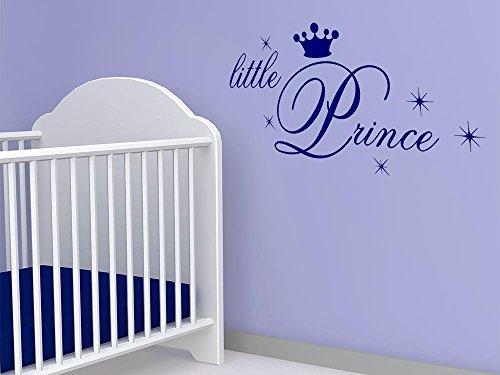 GRAZDesign Sprüche Zur Geburt Wandtattoo Little Prince - Babybett Aufkleber Krone Sterne - Wandtattoo Babyzimmer Kleiner Prinz / 117x57cm / 822 Water Lilly
