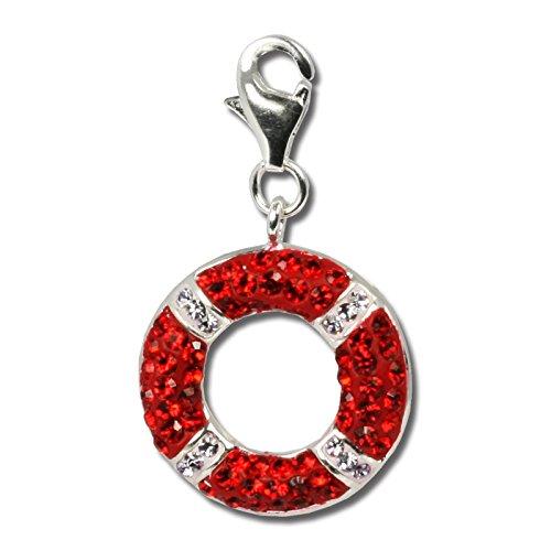 SilberDream Glitzer Charm Schwimmring rot/weiß Swarovski Kristalle Anhänger 925 Silber für Bettelarmbänder Kette Ohrring GSC208
