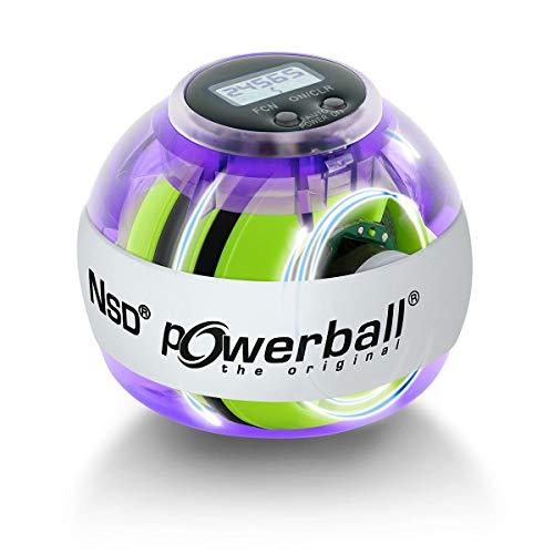 Powerball Autostart Multilight Max, cyclette con effetto luce blu e rosso, con meccanismo di estrazione e contagiri, colore: viola trasparente
