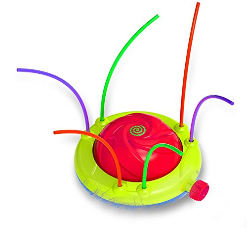 A spinning sprinkler is a fun backyard water toy for kids