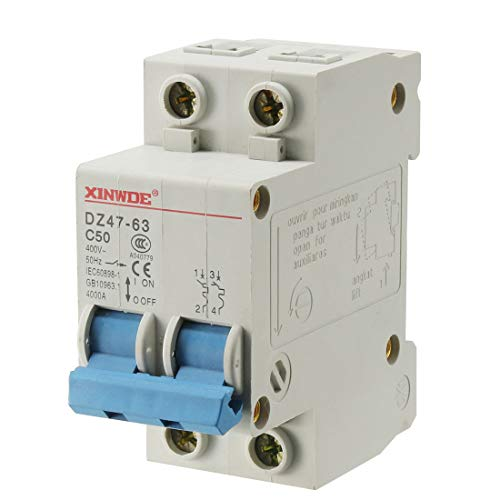 uxcell 2 Poles 50A 400V Low-voltage Miniature Circuit Breaker Din Rail Mount DZ47-63 C50