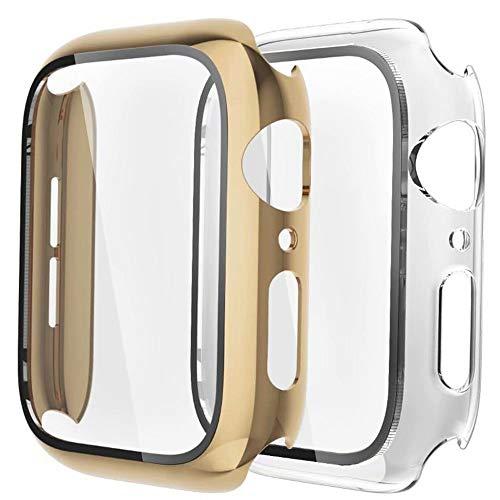 Fengyiyuda Hülle [2 Stück] Kompatibel mit Apple Watch Hülle 44mm mit Anti-Kratzen,Anti-Bläschen TPU Displayschutz Schutzfolie, 360°Rundum Schutzhülle Case für iWatch Series 5/4-Light Gold/Clear