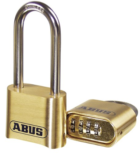 "ABUS 180/50 Solid Brass Combination Padlock - Long Stainless Steel Shackle (2-1/2"")"