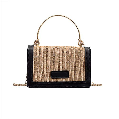 Buy Summer Rattan Bag for Women Handwoven Square Rattan Bag Shoulder Bag with Leather Straps, Natural Chic Clutch Bags