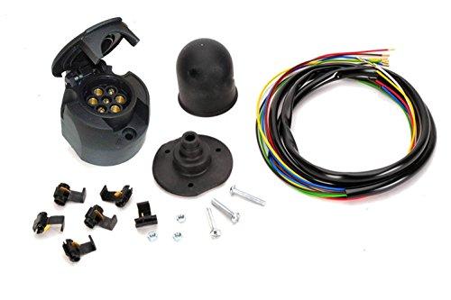 Universal AH-ES7 12V E-Satz AHK Dose 7-polig PKW Anhänger Elektrosatz Anhängerkupplung Anhängevorrichtung inkl. Schutzkappe