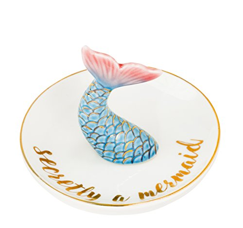 "Eccolo World Traveler Mermaid Dish Jewelry Trinket Holder and Organizer for Rings Earrings Bracelets Necklaces Keys, 4.5"" Diameter"