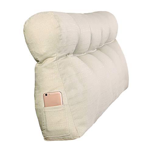 VERCART Grosse Kopfteil Kissen Gepolstert BettUnterstützung Rückenkissen Lesung Bettkeile Nachttisch Rückenlehne Kopfstütze Fernsehkissen Leinen aus Baumwolle Elfenbein 120x50x15cm