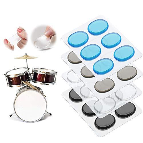 24Pcs Silikon-Gel-Dämpfer für Schlagzeug Klangregelung Snare Drum Floor Tom (Transparent Blau Braun Schwarz)