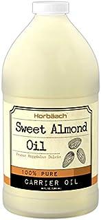 Horbaach Sweet Almond Oil 64 fl oz 100% Pure – for Hair, Face & Skin – Expeller Pressed – Vegetarian, Non-GMO