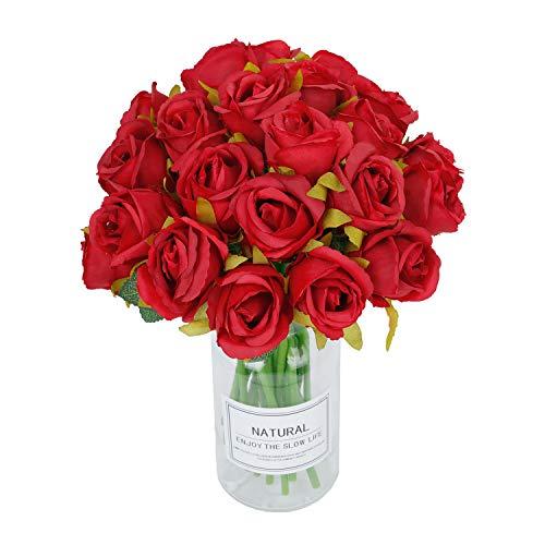 RENATUHOM Künstliche Rosen 24 Köpfe Seidenblumenstrauß Rote Seide Gefälschte Rose Brauthochzeit Home Party Garten Blumendekor