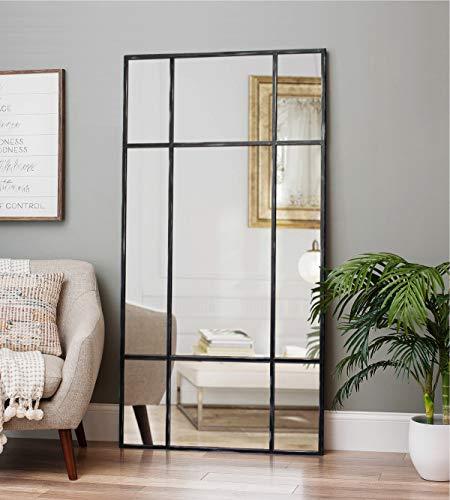 Espejo de Cuerpo Entero Rectangular Negro/Plateado [220 x 110 x 3cm] | Diseño danés | Espejo Grande y Largo de pie | Vertical y Horizontal