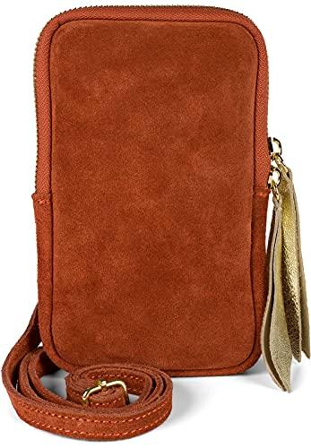styleBREAKER 02012373 - Bolso bandolera de piel para mujer (piel de ante suave, con cremallera), color Rojo, talla Einheitsgröße