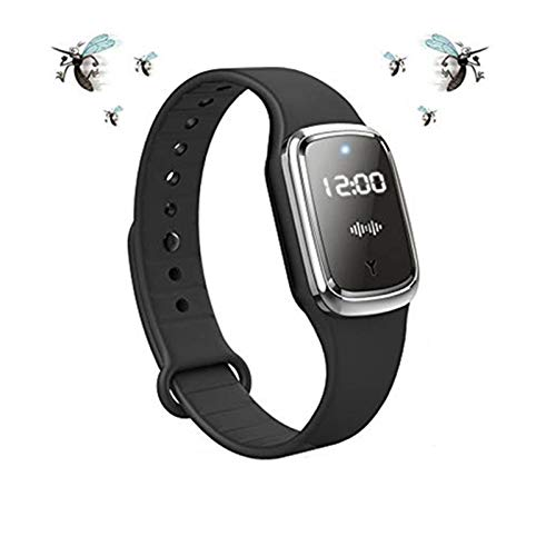 Bracelet épulsif Anti-moustiques Ultrasonique, BraceletAnti-Insectes Intelligent, Montre Bracelet Electronique Anti-Moustique avec Charge USB/Etanche/Réutilisable, pour Enfants et Adultes (Noir)