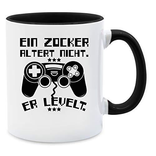Shirtracer Tasse mit Spruch - EIN Zocker altert Nicht - er levelt - Unisize - Schwarz - EIN zocker altert Nicht er levelt Tasse - Q9061 - Tasse für Kaffee oder Tee
