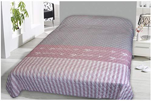FashionundJoy XL Bettüberwurf Tagesdecke gesteppt 220x240 Dream Rosa Steppdecke Überwurf ÖKOTEX Decke Cottage Shabby Chic Typ456
