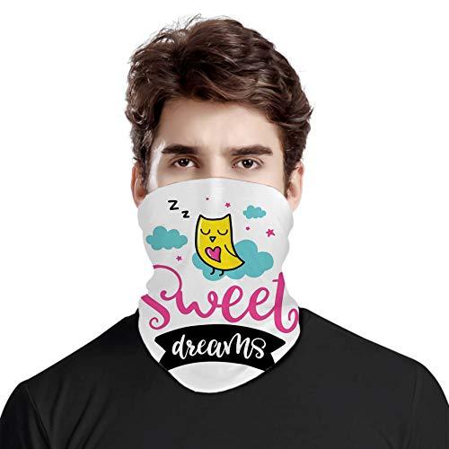 FULIYA Bufanda de protección para el cuello, diseño de búhos de dibujos animados con dulces sueños nubes y estrellas, bufanda de cabeza variada, unisex