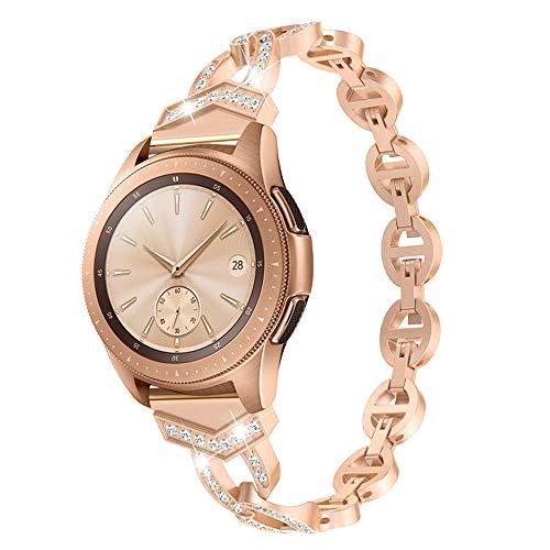 HBNNBV Pulsera de Diamantes para Mujer Compatible con Samsung Galaxy Watch 42mm / 46mm / Activo 2 1 Banda para Ver 3 41mm 45mm Cierre de reemplazo (Band Color : Rose Gold, Band Width : For Gear S3)