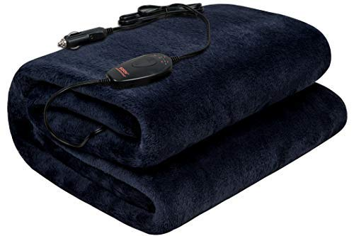 "SOJOY 12V Heated Smart Multifunctional Travel Machine Washable Electric Blanket for Car, Truck, Boats or RV with High/Low Temp Control (55""x 40"") (Navy Blue)"