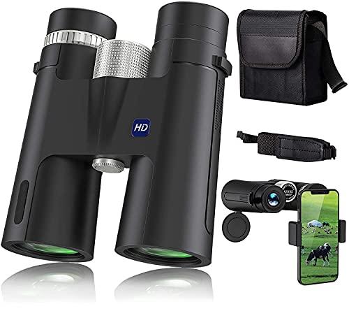 Binocolo professionale 12 * 42 HD portatile binocolo compatto,Con prisma BAK4, obiettivo FMC binocolo professionale potente Adatto per birdwatching, escursioni, concerti, ecc.