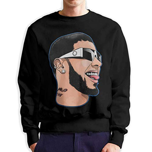 MYHL Men's Anuel-AA Fashionable Casual Style Crew Neck Cotton Sweatshirt Hoodie