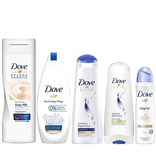 Dove Pflege-Set mit Bodymilk (400ml), Duschgel (250ml), Shampoo (250ml), Spülung (200ml) und Deospray (150ml), 5 Produkte