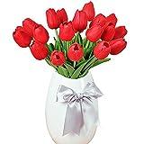 MEIWO Tulipes Artificielles, 10 pcs Real Touch Latex Artificial Tulips Flowers dans Les Vases pour Les Bouquets de Mariage/Home Decor/Party/Graves Arrangement(Rouge)