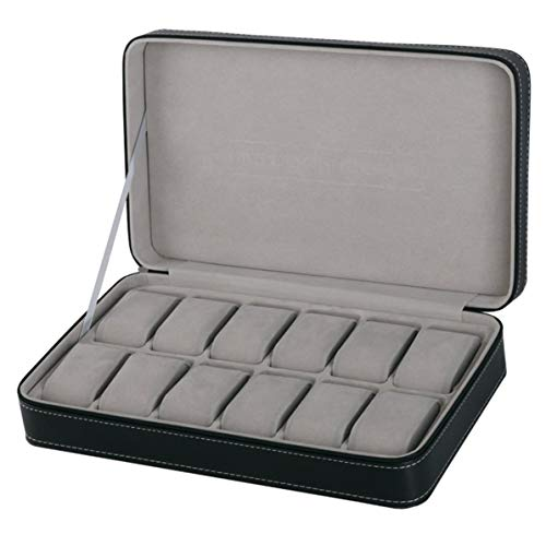 Rendeyuan Caja de presentación de Reloj portátil de 12 Ranuras Organizador de Almacenamiento con Cremallera Vitrina de Pulsera Multifuncional de Estilo clásico - Negro + Gris