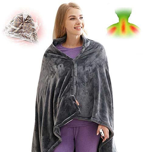 Electric Heated Shawl Blanket Battery Operated USB Cordless Wrap for Women, with Auto Shutoff Ultra Soft Throw Flannel Warm Cape for Car Office...