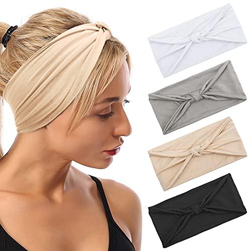 Haarband Damen, Boho Stirnbänder Elastisches Sommer Bandana Breites Haarbänder Sport Yoga Pure Farbe Vintage Gedruckt Turban Stirnband für Frauen und Mädchen