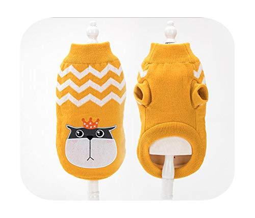 Jersey para perro, bichn de punto para perros pequeos, gatos, teddy o gato, disfraz de invierno clido, diseo animado de algodn y amarillo Cat-M