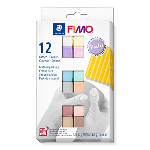 FIMO soft ofenhärtende Modelliermasse. Kartonetui mit 12 sortierten Pastell-Farben.