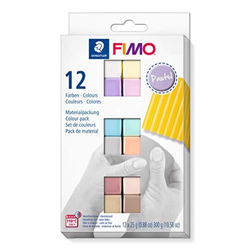 FIMO Pasta da modellare morbida indurita in forno, astuccio in cartone con 12 colori pastello assortiti.