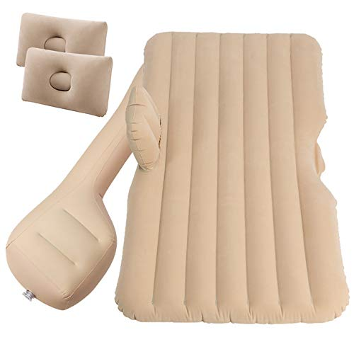 Portable Car Mattress with Air Pump, Inflatable Sofa, Foldable Camping Air Mattress, Car Bed Suitable for Car, SUV, Truck,Beige