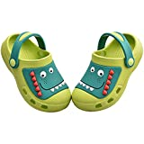 MARITONY Kids Boys Girls Dinosaur Clogs Slippers Toddler Slip On Lightweight Beach Pool Sandals Green