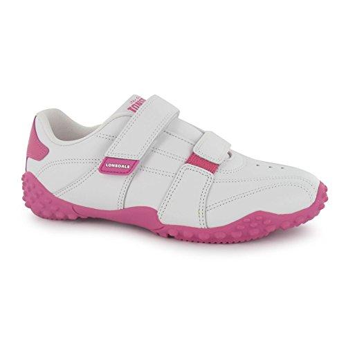 Lonsdale Kinder Baby Fulham Turnschuhe Sport Durable Sohle Grip Leder Schuhe Weiß/Rosa C7 (24)