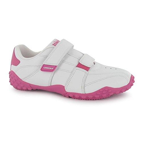 Lonsdale Kinder Baby Fulham Turnschuhe Sport Durable Sohle Grip Leder Schuhe Weiß/Rosa C4 (20)