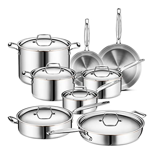 Legend Stainless Steel 5-Ply Copper Core   14-Piece Cookware Set   Professional Home Chef Grade Clad Pots and Pans Sets   All Surface, Induction & Oven Safe   Premium Cooking Gifts for Men & Women