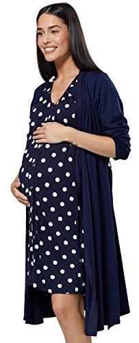 HAPPY MAMA Donna Set Vestaglia e Camicia da Notte prémaman L'Allattamento 1009 (Marina & Marina con Puntini, IT 48/50, XL)