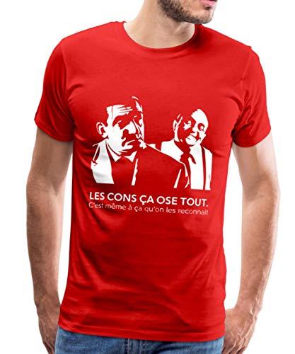 Spreadshirt Les Cons Ça Ose Tout Citation Lino Ventura T-Shirt Premium Homme, L, Rouge